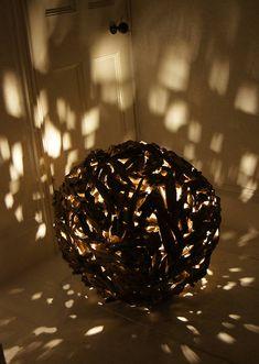 """Driftwood Sphere Floor Lamp """"Designed By""""  by Karen Miller @ Devon Driftwood Designs  £435 Sphere lamp lit.jpg v2"""