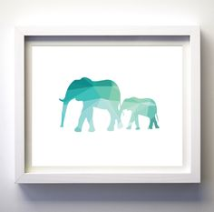 Teal and White Turquoise geometric elephants art print wall art minimalist modern animal nursery art prints modern animal print art digital Geometric Elephant, Geometric Wall Art, Elephant Art, Modern Art Prints, Wall Art Prints, Mother And Baby Elephant, Mustard Yellow Walls, Yellow Wall Art, Or Mat