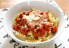 Skinny Taste Turkey Sausage and Tomato Sauce over Pasta
