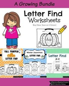Lots and lots of fun letter find worksheets in one bundle. Save when you buy them together, and get upcoming additions FREE! #letter #find #preschool #kindergarten #activity #worksheets