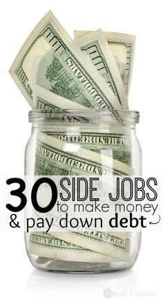 30 Side Jobs to Make Money & Help Pay Down Debt Are you trying to get out of debt? Looking for another job to supplement your income? Take a look at these 30 side jobs to make money and help pay off your debt. Ways To Save Money, Money Saving Tips, How To Make Money, Money Tips, Money Hacks, Mo Money, Make Money From Home, Make Money Online, Money Today