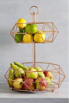 Buy Rose Gold 2 Tier Fruit And Veg Storage from the Next UK online shop Kitchen Appliance Storage, Kitchen Organisation, Organization, Fruit Storage, Storage Baskets, Tiered Fruit Basket, Cutlery Caddy, Kitchenware, Sweet Home