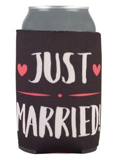 TWC-5046 - Full Color Collapsible Wedding Can Coolers #justmarried