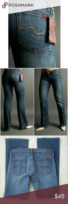 7 For All Mankind Swarovski Amber Crystal Bootcut Amber (yellow) crystals on rear pockets. Zipper fly. Classic 5 pocket design.  Style: Swarovski Amber Crystal Bootcut Jeans Color: Medium Blue Cotton/ Lycra The modeled stock photos show the fit/style of jeans listed but is not the exact same color.  NO TRADES! 7 For All Mankind Jeans Boot Cut