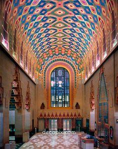 Decopix - The Art Deco Architecture Site -Tile, Terra Cotta & Terrazzo Gallery. This Art Deco ceiling is located in the Guardian Building in Detroit, Michigan.