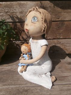 Panenka Salvador Dali Artwork, Ooak Dolls, Paper Mache, Plaster, Garden Sculpture, Arts And Crafts, Pottery, Clay, Ceramics