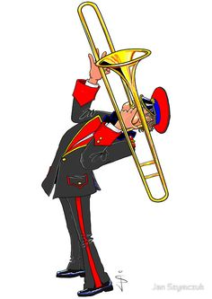 Brass Band - The Trombone Player by Jan Szymczuk Trombone, Band Jokes, Music Drawings, Wood Carving Patterns, Brass Band, Pink Panthers, Busy Book, Classical Music, Mexican Art