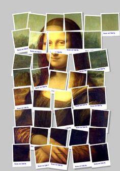 Leonardo Da Vinci's Mona Lisa as David Hockney style polaroid print [Sanjay Parekh] (Gioconda / Mona Lisa) print out several on card stock, cut into puzzle pieces and and have students put together p. David Hockney, Polaroid, Mona Lisa Parody, Mona Lisa Smile, Famous Artwork, Arts Ed, Italian Artist, Photomontage, Art Lessons