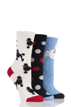 Ladies 3 Pair SockShop Just For Fun Magpie and Jewels Cotton Socks