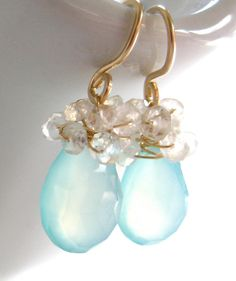 December at the Beach: Sea Foam Chalcedony Teardrops  Wrapped in Flashing Blue Moonstone and 14k Gold, California Beach Chic Earrings, $52.25