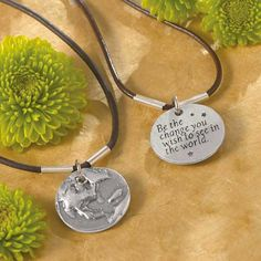 """Be The Change Necklace.   Some quotes are so simple, yet so powerfully profound. Ghandi's words, """"Be the change you wish to see in the world"""" inscribed on this 1"""" diameter pewter pendant inspire the desire within you. The Power Of Love, Inspirational Message, Stitch Fix Stylist, Jewelry Organization, Leather Cord, Cute Quotes, You Changed, Pewter, Sparkly Jewelry"""