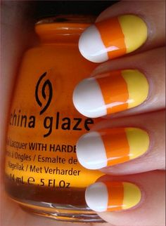 Halloween Candy Nail Art Tutorial, cute nails for Halloween! Nail Art Diy, Easy Nail Art, Diy Nails, Fancy Nails, Love Nails, Pretty Nails, Candy Corn Nails, Hallowen Ideas, Halloween Nail Art