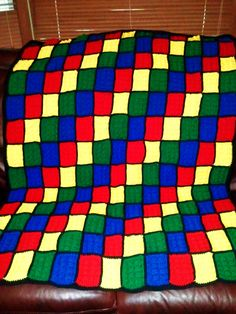 Crochet Lego Throw Blanket