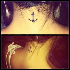 Tiny Anchor Symbol Tattoo On Neck | Tattoo Styles
