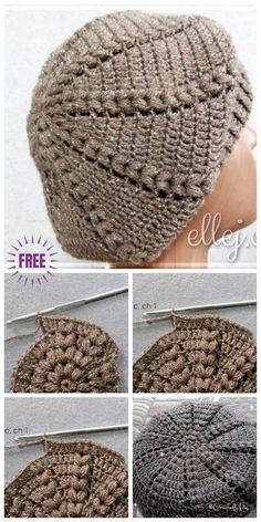 Crochet Easy Sunburst Puff Stitch Beret Hat Free Crochet Pattern ---- More DIY Ideas ---- Women S Over 50 Fashion Styles 2015 Nigeria Fashion Dress Style Women's Fashion Looks Crochet Dress Pattern For One Year Old Fashion Nova Army Dress. Crochet Beret Pattern, Bonnet Crochet, Easy Crochet Hat, Crochet Diy, Crochet Beanie Hat, Easy Crochet Patterns, Knitted Hats, Hat Patterns, Crochet Ideas