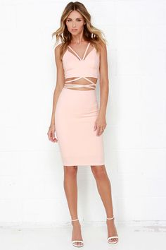 Me Oh Tie Blush Pink Two-Piece Dress at Lulus.com!