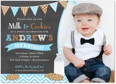 Boy First Birthday Invitations Milk Cookies Chalkboard Blue Photo