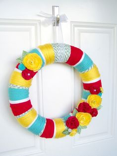 I thought this yarn wreath was very colorful. Yarn wreaths are one of my favorites!