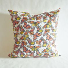 Cover ONLY Monarch Butterfly Throw Pillow by GoldandGinger on Etsy Butterfly Pillow, Monarch Butterfly, Beautiful Butterflies, Throw Pillows, Unique Jewelry, Handmade Gifts, Cover, House, Vintage