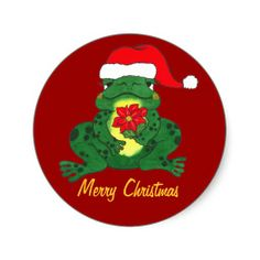 Merry Christmas - Santa Hoppy Frog Sitcker Round Sticker cute sticker to place on packages