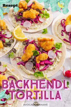 Backhendl Tortilla - AvocadoBanane Breaded Chicken, Chicken Wraps, Marinated Chicken, Fried Chicken, Pesto, Avocado, English Food, English Recipes, Cabbage Head