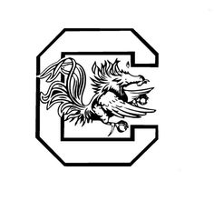 Gamecock Block C Coloring Page