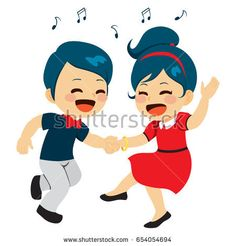 Young cute couple dancing together enjoying music  #cute #character #mascot #children #illustration #cartoon #vector #stock #dancing #music #rock #swing #couple