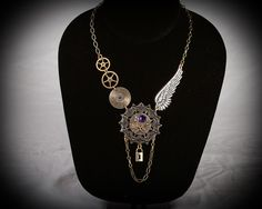 necklace asymmetrical charms coppertronic gears jewelry steampunk upcycled art <3<3