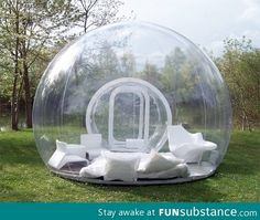 An inflatable lawn tent. Imagine laying in it while it's raining
