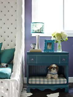 How to Turn Old Furniture Into New Pet Beds is part of Old furniture Fun - DIY Network has unique ideas and instructions on how to make dog and cat beds from old end tables, dressers and Diy Dog Bed, Diy Bed, Pet Furniture, Repurposed Furniture, Furniture Ideas, Refinished Furniture, Antique Furniture, Street Furniture, Bedroom Furniture