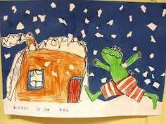 Kikker is gekopieerd. Het huisje en de sneeuw is zelf getekend en geplakt. Mooi winters werkje!
