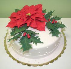 Tort świąteczno-weselny, tort poinsecja/ Christmas cake, wedding cake, poinsettia cake