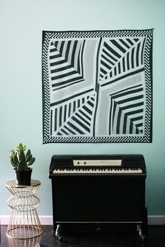 Hanging art scarf in a modern living room