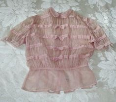 Vintage 40s or 50s Sheer Nylon Dusty Pink Blouse With Bows by Penny Potter