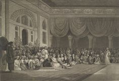 The Ganapati Rang-Mahal - Built by Balaji Bajirava in 1755, for the celebration of the Ganapati festival. It was the main hall of audience at the Shaniwar Wada, where all important state functions used to be held.   The image is a Representation for the delivery of the Ratified Treaty of 1790 by Sir Charles Warre Malet Bart to His Highness Peshwa Sawai Madhavrao #Pune