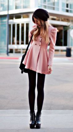 Winter Wear: Pretty in Pink! Baby Pink Pea Coat with skirted bottom, black leggings tucked into black platform booties and shrugged black knit hat.