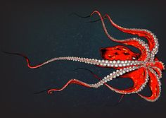 Kiss Of The Octopus Art Print by Chris Bliss