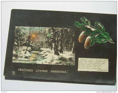 Latvia, New Year & Christmas holidays -  tinted photo postcard - pass Liepaja post in 1924