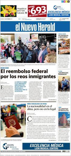Portada de El Nuevo Herald (USA) Domingo, 12 de febrero del 2016 con reportaje sobre los niños venezolanos en Estados Unidos que no han renovado sus pasaportes.