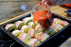 Pieczone gołąbki - na dużą ilość osób Gourmet Recipes, Healthy Recipes, Polish Recipes, Polish Food, Cream And Sugar, World Recipes, Fresh Rolls, Food Print, Watermelon