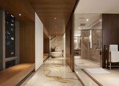 Baño con paredes revestidas con madera