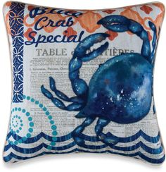 Blue Crab Square Throw Pillow #blue #crab #pillow #home #decor #beachy #nautical #coastal