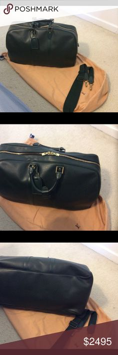 a5a3274477eee4 LV Green Taiga Leather Kendall 55 Weekender Bag Done in green Taiga leather,  this Kendall