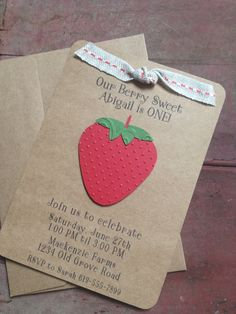 SALE 10% OFF Handmade Strawberry Invitations with by SimpleandPosh