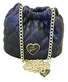 """Super cute little rouched crossbody bag by Betsey Johnson in her quilted hearts Be Mine design. The gold tone crossbody strap is embellised with two pearls and Betsey's signature XOXO Betsey heart charm. This adorable little bag measures approximately 7"""" L x 6"""" H x 5"""" W."""