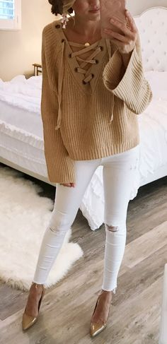 #fall #outfits women's brown corduroy long sleeve shirt and white distressed pants
