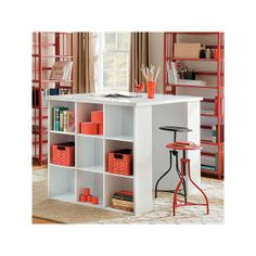 Craft U0026 Project Table  Top With 2 Bookcases   White   Venture Horizon 1148    AVthing In Its Place   Craft Room Ideas   Pinterest   Project Table,  Bookcase ...