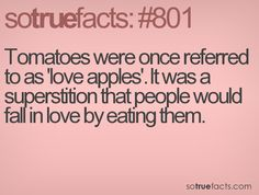 Tomatoes were once referred to as 'love apples'. It was a superstition that people would fall in love by eating them.