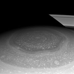 Why would clouds form a hexagon on Saturn? Nobody is sure. Originally discovered during the Voyager flybys of Saturn in the 1980s, nobody has ever seen anything like it anywhere else in the Solar System. If Saturn's South Pole wasn't strange enough with its rotating vortex, Saturn's North Pole might be considered even stranger. The bizarre cloud pattern is shown above in great detail by a recent image taken by the Saturn-orbiting Cassini spacecraft.