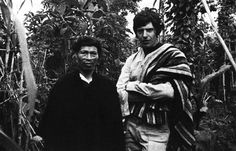 Michael Taussig in a garden with yagé vines with Don Pedro, an Indian healer. Colombia, 1977.